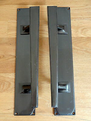 1st PAIR LARGE BRONZE FINISH ART DECO DOOR PULL HANDLES KNOBS PLATES FINGER PUSH