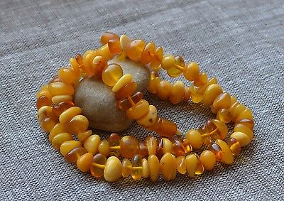 48.9 gr Genuine natural baltic amber round beads necklace egg yolk butterscotch