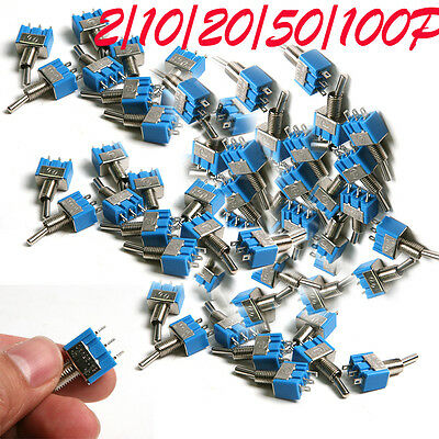 2/10/50/100pcs AC 125V 6A ON-ON SMTS-102 3 Pin Latching Micro Toggle Switch Blue