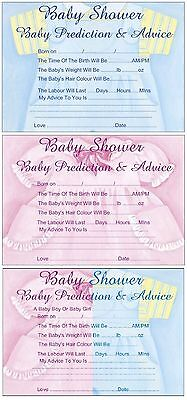 Baby Shower Prediction Advice Game Pack of 12 sheets  Boys or Girls