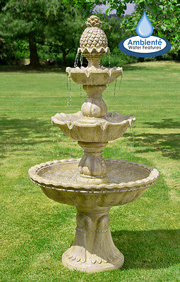 3 Tier Water Fountain Feature Cascade Classical Regal White Stone Effect Garden