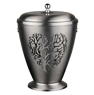 Beautiful Silver Metal Cremation  Urn for Ashes,Funeral Urn for Adult (Heart 3D)