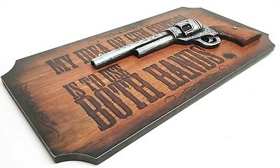 "Gun Control Western Country Cowboy Pistol Wall Sign Art Plaque 14""L Home Decor"