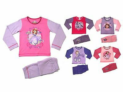 Disney Princess Sofia Long Sleeve Pyjamas Childrens Pjs Pj's Size UK 1-5 Years