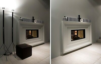 Antonio Lupi thermo fireplace Filoskema Series double faced encased wood burning