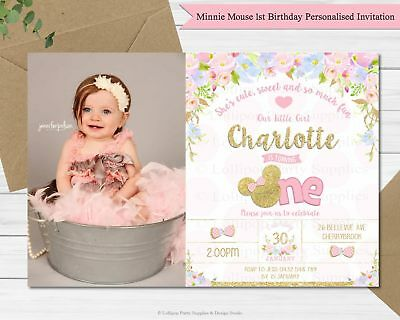 Minnie Mouse 1St Birthday Party Invitation Photo Invites Card Gold Ears Floral