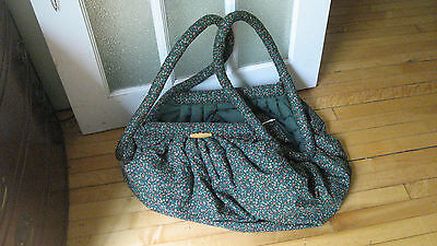 Vintage 70s Extra Large Green Floral Cotton Tote Bag Purse Duffle