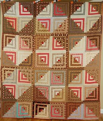 1870's Vintage Log Cabin Antique Quilt ~EARLY BROWN FABRICS & CENTENNIAL PRINTS!