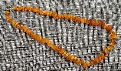 Antique Natural Egg Yolk Butterscotch Baltic amber necklace, 16,9 grams