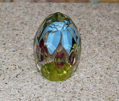Antique Bohemian Facet Cut Glass Paperweight Floral around 1900   (# 2289)