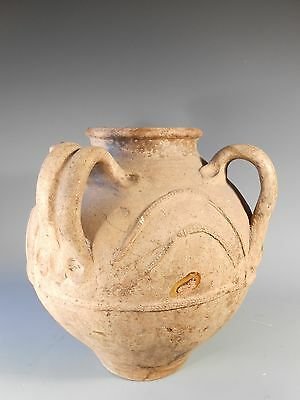 North African Algeria Vessel Partially glazed inside w/ spout and three handles