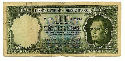 Turkey ... P-177 ... 100 Lirasi ... L.1930(1954) ... *VG*