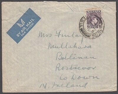 NIGERIA 1939 6d. KGVI ON AIRMAIL COVER TO NORTHERN IRELAND (ID:563/D41179)