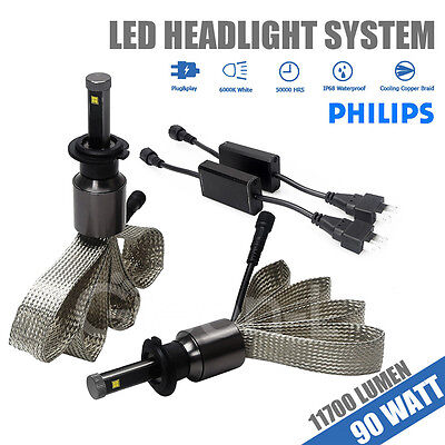 H7 90W 11700LM PHILIPS CHIP LED Car Headlight Kit Light bulbs For replacement