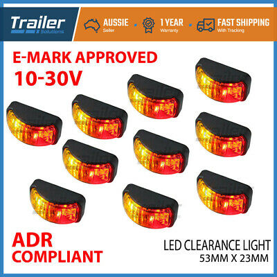10X LED CLEARANCE LIGHTS SIDE MARKER LAMP RED AMBER TRAILER TRUCK 12-24V 54x24mm