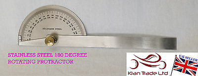 Stainless Steel Round Head Rotary Protractor Goniometer Angle Ruler General Tool