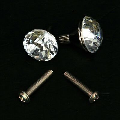 2x Zinc Alloy Small Crystal Drawer Knob Pull Handle CP