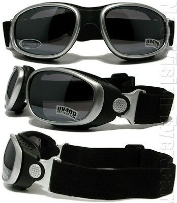 Shatterproof Smoke Clear Yellow Motorcycle/Paintball Padded Goggles 466