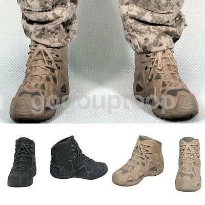 """2 Pairs Military Combat Boots Shoes 1/6 Scale Fit 12"""" Hot Toys Action Figures"""