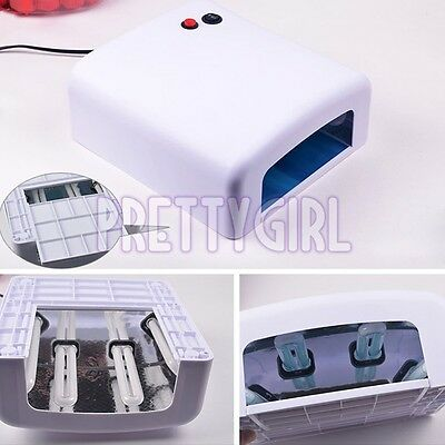 36W Art Acrylic Nail UV Lamp Curing Light Gel Polish Dryer With Timer + 4 Bulbs