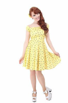 Collectif Vintage Ramona Cherry Lips Print Doll Dress Yellow (S)