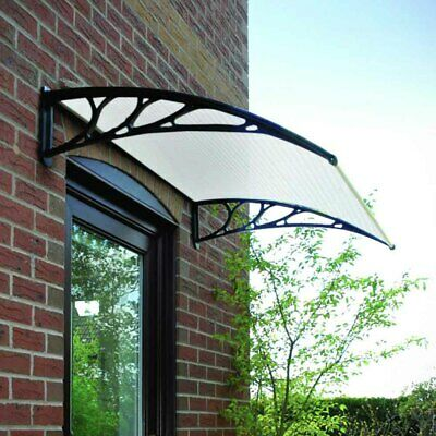 Black/White Door Canopy Opaque Corrugated Awning Shelter Roof Front Back Outdoor