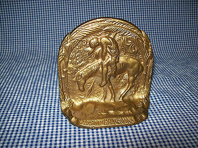 "Vintage Antique ""End Of The Trail"" Gold Finish Cast Iron Bookend Paperweight"