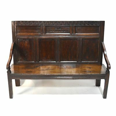 Gorgeous 17th C. Antique English Carved Oak Charles II Hall Bench Setle