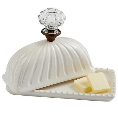 Mud Pie Circa Collection White Butter Dish Glass Knob Accent 4871010 New