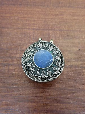 Afghan Blue Pendant Central Asian Finding for DIY Jewelry Designs 1.75""