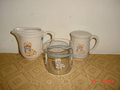 """3Pc Tienshan """"country Bear"""" Glass-Shaker-Creamer/beige-Tan-Blue/as Is/clearance!"""
