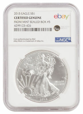 2015 $1 1oz Silver American Eagle -- NGC Certified from U.S. Mint Sealed Box 5!
