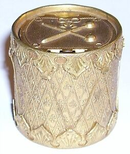 Victorian Avery brass needle case Drum