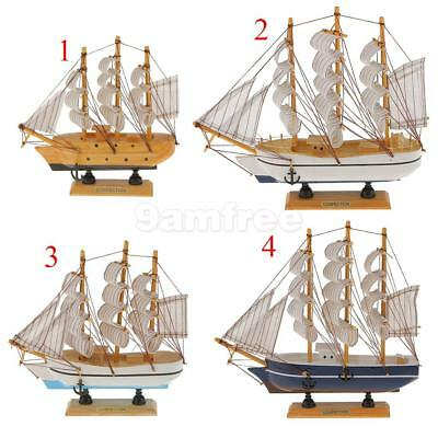 Natural Color Ship Model Toys Handmade Mediterranean Style Wooden Sailboat Model