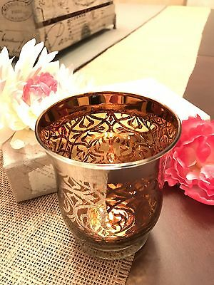 New Bright Silvertone Ornate Damask Over Copper Amber Glass Candle Holder