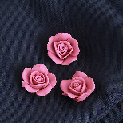 20pcs Dark Pink Color Flowers Charms FIMO Polymer Clay Spacer Beads Findings J