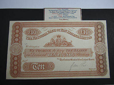National Bank of NZ Ten Pounds Printer's Proof. Very Rare. Investment. Nice EF
