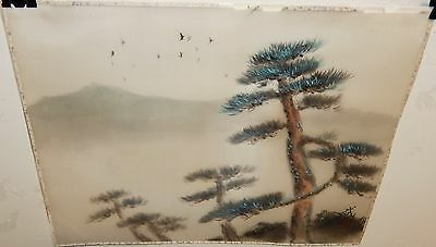 Old Japanese Birds And Tree Original Signed Watercolor Silk Painting
