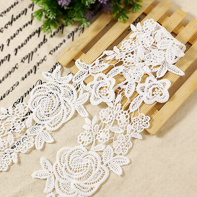 5M Vintage Rose Embroidered Lace Edge Trim Fabric Applique Sewing Craft