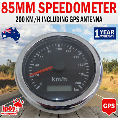 NEW 85mm Needle Digital GPS Speedometer, Speedo Black Dial GPS Antenna