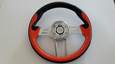 Golf Cart Steering Wheel, Color Orange fit club car, ez-go and yamaha golf cart
