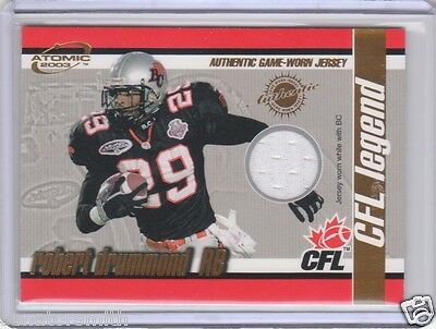 2003 Pacific Atomic CFL Legend Game Worn Jersey #1 Robert Drummond BC Lions