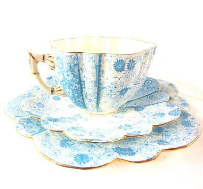 ANTIQUE SHELLEY WILEMAN CHINA TRIO CUP SAUCER PLATE JUNGLE PRINT a