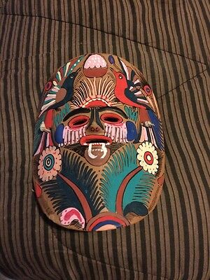 clay mask festival dance mask hand painted  flowers ferns feathers mexico