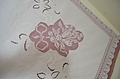 "Sensational Vintage Embroiderred  Linen Tablecloth With ""Wjb"" Mono Ss9"