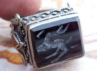vintage ethnic Regional Bedouin Jewelry tribal middle eastern rings  black agate