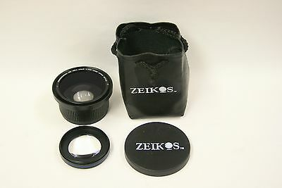 Zeikos 0.40X MK II lens with macro lens attached w/front cap & pouch(58mm)