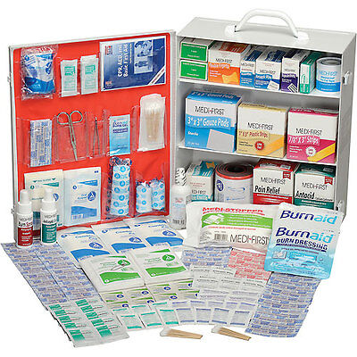 Global Industrial First Aid Kit - 3 Shelf Steel Cabinet, ANSI Compliant, 75-1...
