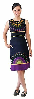 Women Summer Sleeveless Dress With Necklace Print & Embroidery