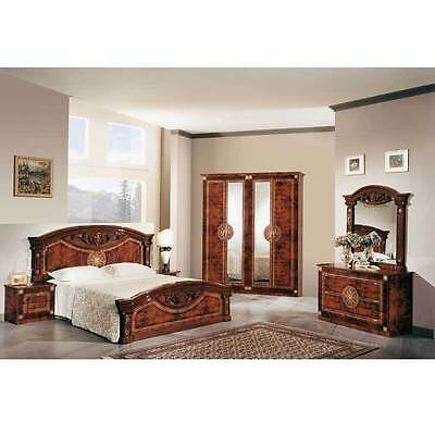 Roma Italian Bedroom Set High Gloss Walnut With Italian Bedroom Suite